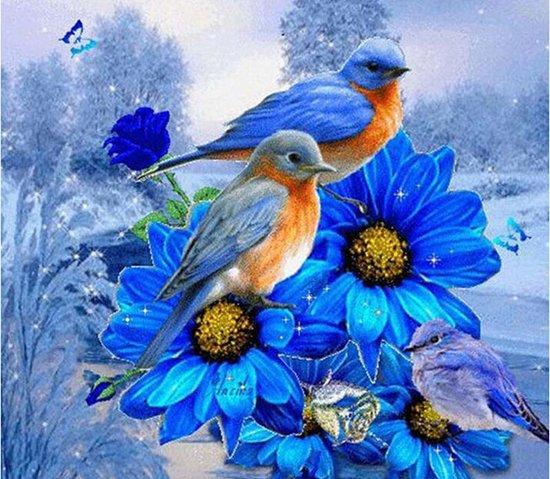 Diamond Painting – Blauwe bloemen en vogels