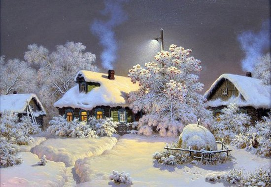 Diamond Painting – Huisjes in de sneeuw – winterlandschap