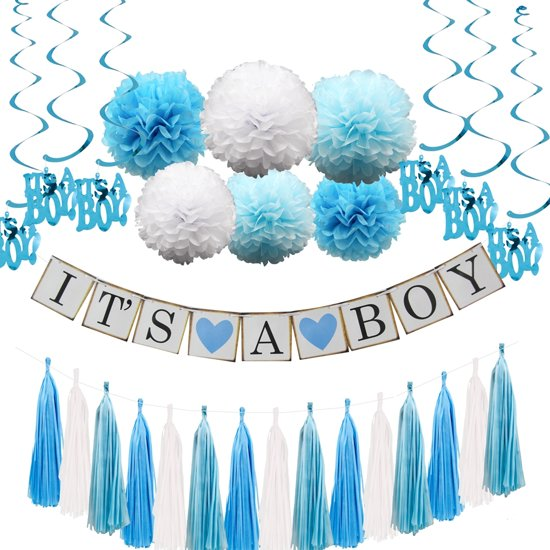 Spullen Voor Babyshower.Luxe Babyshower Versiering Set It S A Boy Jongen